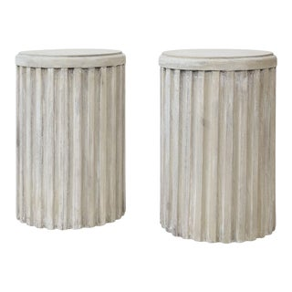Two Painted Pedestal Tables For Sale