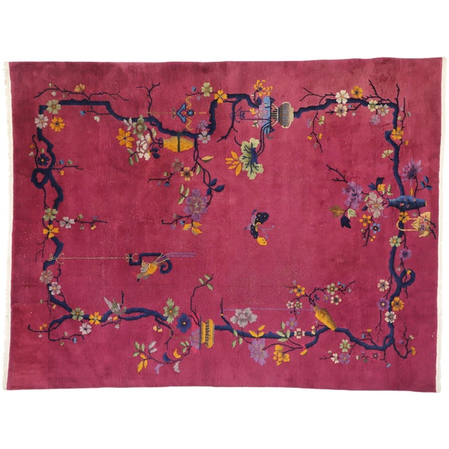 1920s Antique Chinese Art Deco Rug - 8′10″ × 11′7″ For Sale