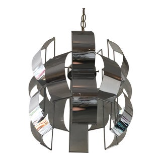 Retro Chrome and Enamel Lightolier Light Fixture For Sale