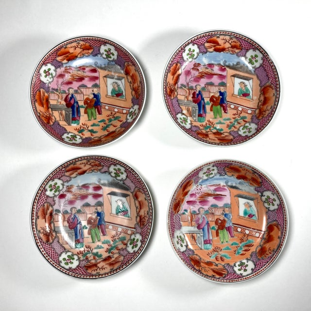 "Early 19th Century English Georgian Chinoiserie New Hall ""Boy in Window"" Breakfast Set for 4 For Sale - Image 4 of 8"