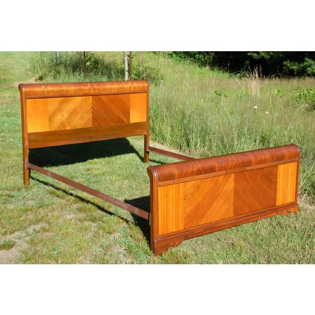 Walnut Vintage Art Deco Walnut Full Double Waterfall Bed For Sale - Image 7 of 12