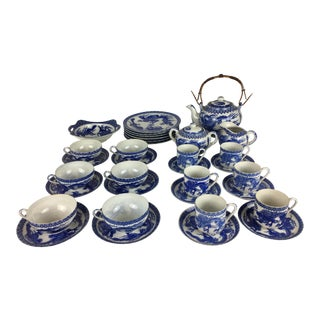 Japanese 19th Century Antique Blue and White Arita Porcelain Tea Set - 33 Pieces For Sale