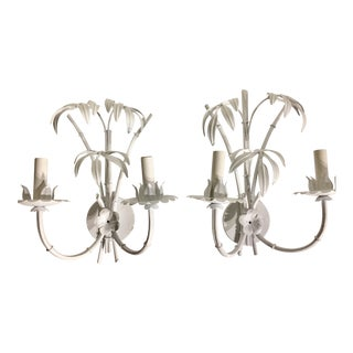1960's Vintage White Mid Century Faux Bamboo Wall Sconces- A Pair For Sale