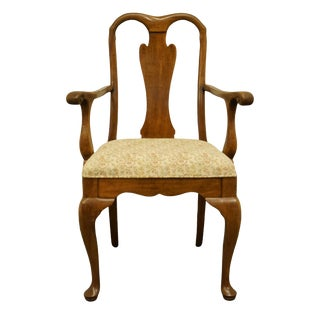 Late 20th Century Davis Cabinet Co. Traditional Style Solid Walnut Dining Arm Chair For Sale