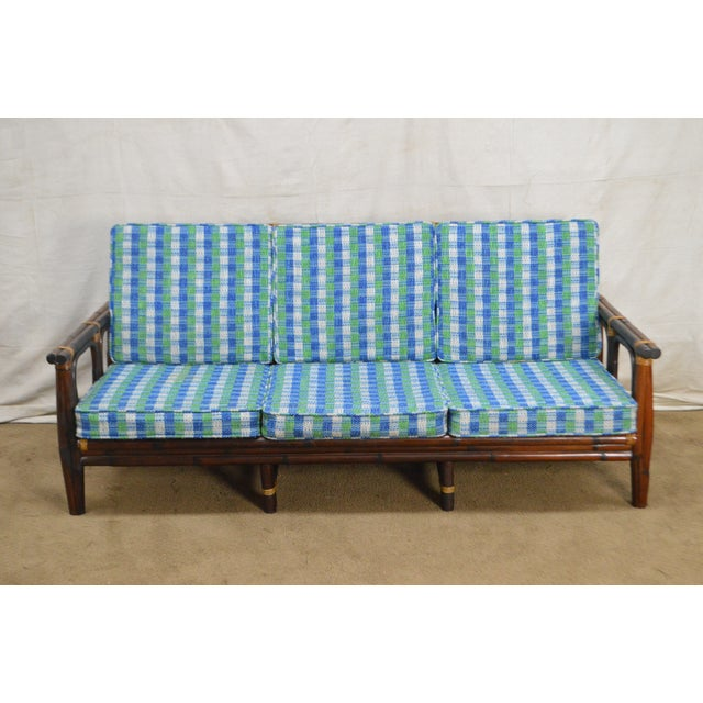 *STORE ITEM #: 17740-ax Ficks Reed Vintage Rattan Bamboo Frame Sofa (B) AGE / ORIGIN: Approx. 60 years, America DETAILS /...