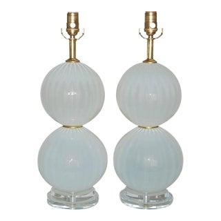Joe Cariati Handblown Glass Ball Table Lamps White For Sale