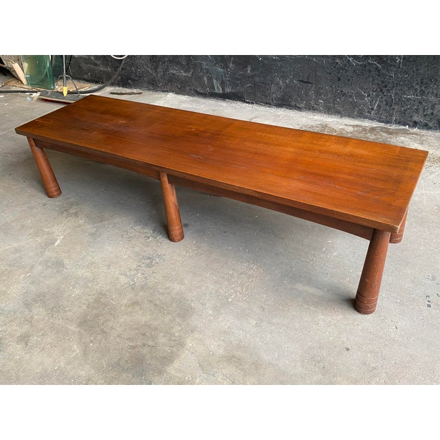 Wood Mid Century Solid Teak Bench For Sale - Image 7 of 11