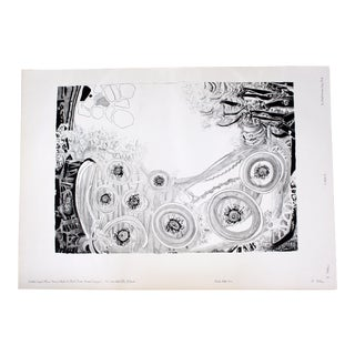 Mid-Century Modern Unframed Abstract Lithograph Black State 4/10 Roland Poska Signed For Sale