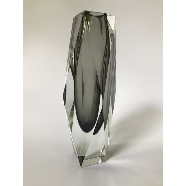 Beautiful Italian Mid-Century Modern Murano glass vase by Alessandro Mandruzzato, circa 1965. Large in size and heavy with...