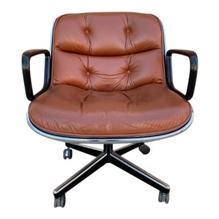 Super Clean Vintage Leather Pollock Chair for Knoll (5 Available) For Sale