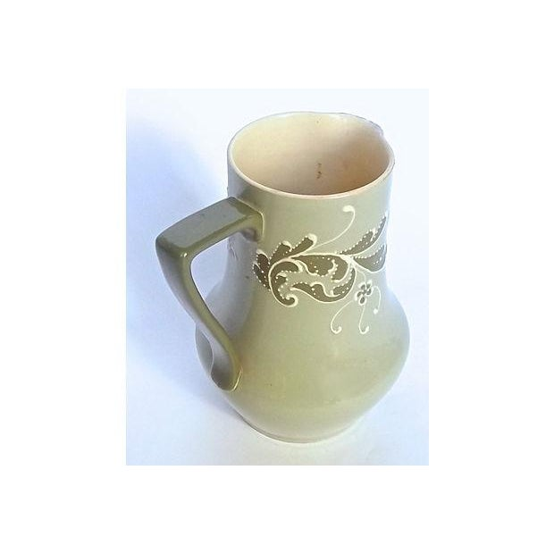 Traditional Antique English Esso Faience Leaf Pitcher For Sale - Image 3 of 6