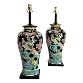 Antique Chinese Phoenix Birds and Floral Black Porcelain Ceramic Table Lamps - Pair - Restored - Boho Palm Beach Chic Early 20th Century For Sale