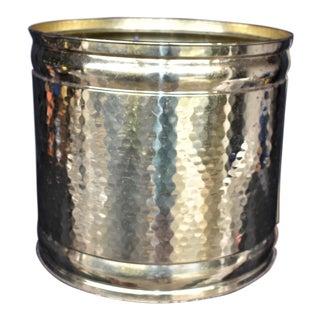 Vintage Hammered Brass Cachepot