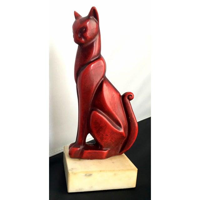 Mid-Century Art Deco Bronze Cat Sculpture - Image 2 of 8