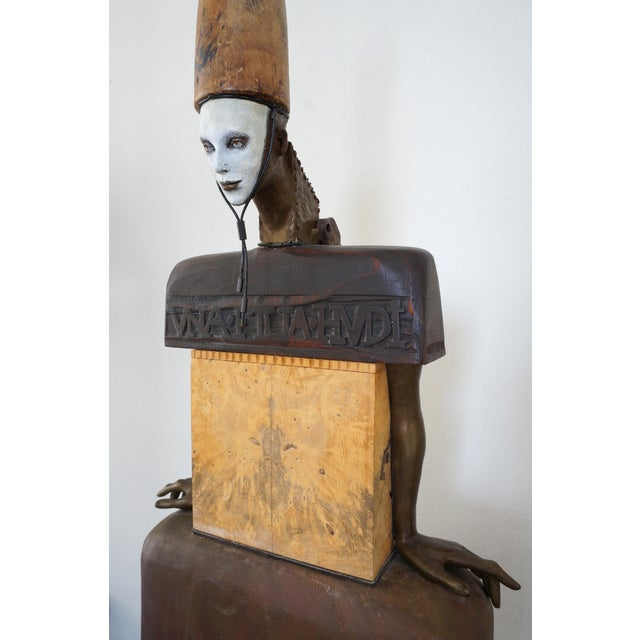 Vintage 2002 Cecilia Z Miguez Sculpture 71-inch high Bronze Wood Granite and Found Objects from a Palm Beach estate. This...