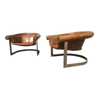 Mid-Century Modern Milo Baughman Style Barrel Club Chairs - a Pair