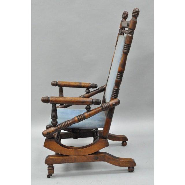 Antique Eastlake Victorian Turned Walnut Blue Platform Rocking Chair For Sale - Image 4 of 11