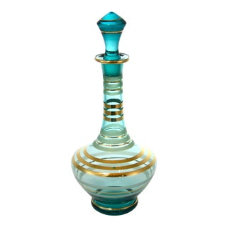 Tall Mid-Century Teal & Gold Bottle For Sale