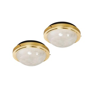 1960s Sergio Mazza Brass and Glass Wall or Ceiling Lights for Artemide - A Pair