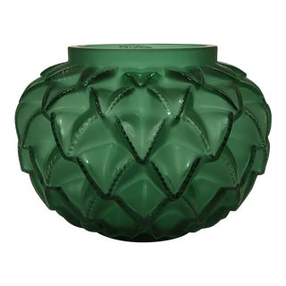 Lalique Languedoc Green Crystal Vase For Sale
