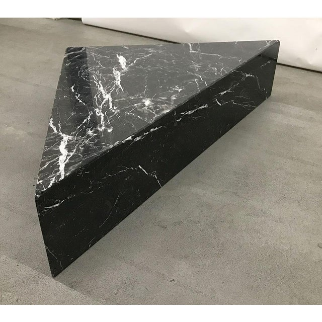 1970s Black Marble Triangular Coffee Table For Sale - Image 10 of 13