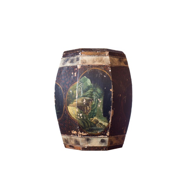 Vintage Chinese Hand Painted Wood Rice Bucket - Image 2 of 6