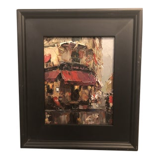 1980s Store Front Street Scene Framed Oil on Canvas Painting For Sale