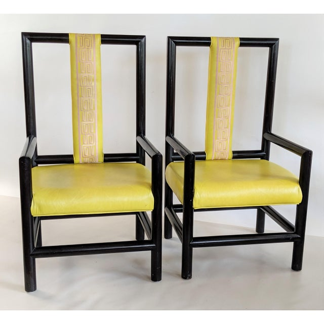 Wood 1980s Vintage Kelly Wearstler for the Viceroy Hotel High Back Arm Chairs - a Pair For Sale - Image 7 of 13