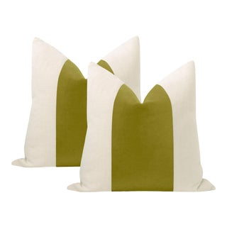 "22"" Chartreuse Italian Velvet Panel & Linen Pillows - a Pair For Sale"