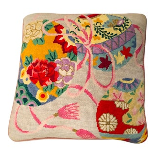 Vintage Needlepoint Florals & Tassels Square Pillow For Sale