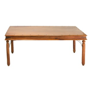 Indian Teakwood Dining Table with Pedestal Legs and Wrought Iron Trim For Sale