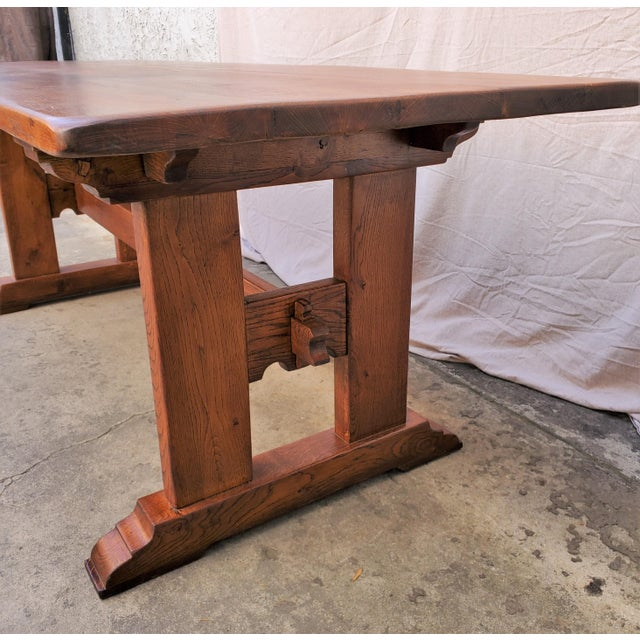 Antique Plank Solid Oak Refectory Dining Table With Set of 6 Ladderback Chairs - 7 Pieces For Sale In Los Angeles - Image 6 of 13