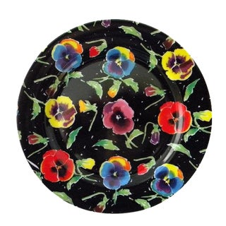 1988 Traditional Black Ceramic Pansy Salad Plates - Set of 4