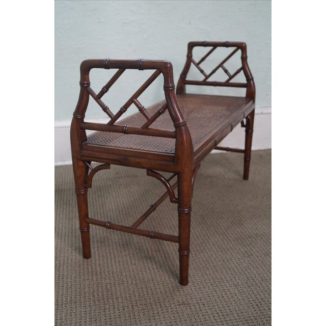 Chinese Chippendale Faux Bamboo Cane Seat Bench For Sale - Image 4 of 9