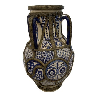 Moroccan Blue and White Urn For Sale