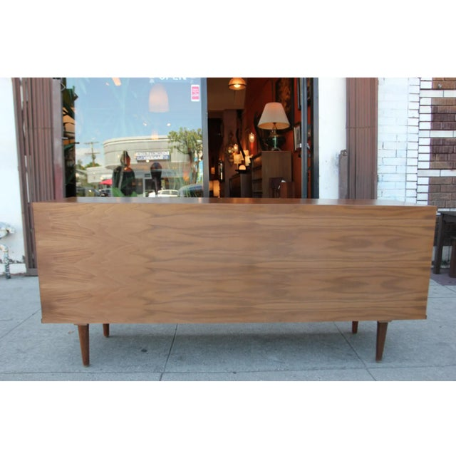 Mid-Century Modern Walnut Credenza with Blue and Orange Accents For Sale - Image 4 of 9