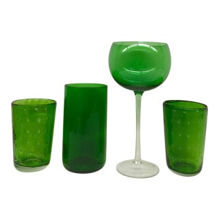Vintage Green Glasses - Set of 4 For Sale
