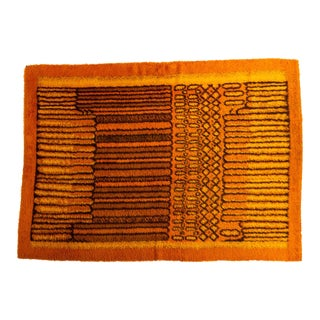 Orange Ege Rya With Progressive Line Pattern For Sale