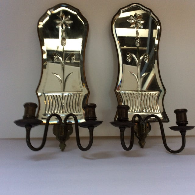 Cut Glass Mirrored Sconces - A Pair - Image 7 of 9