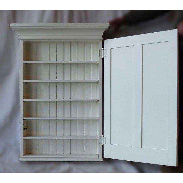 Traditional 1880s White Painted Wooden Wall Mount Medicine Cabinet With Mirror For Sale - Image 3 of 5