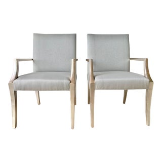 Silver-Leafed Custom Designed Dining Arm Chairs- A Pair For Sale