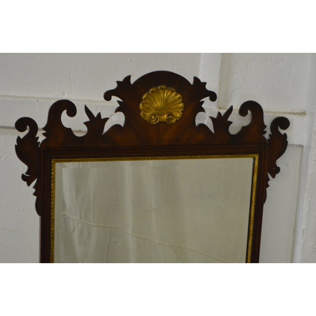 Gold Henkel Harris Flame Mahogany Shell Carved Chippendale Style Wall Mirror For Sale - Image 8 of 10