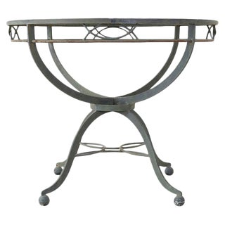 Midcentury French Neoclassical Style Iron Garden Dining Table For Sale