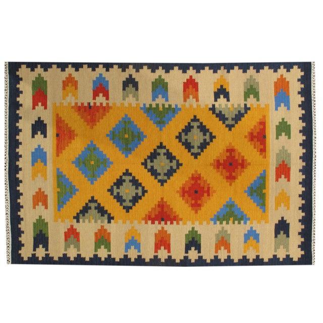 Apadana - Indian Hand-Knotted Kilim Rug, 5' x 8' - Image 1 of 2