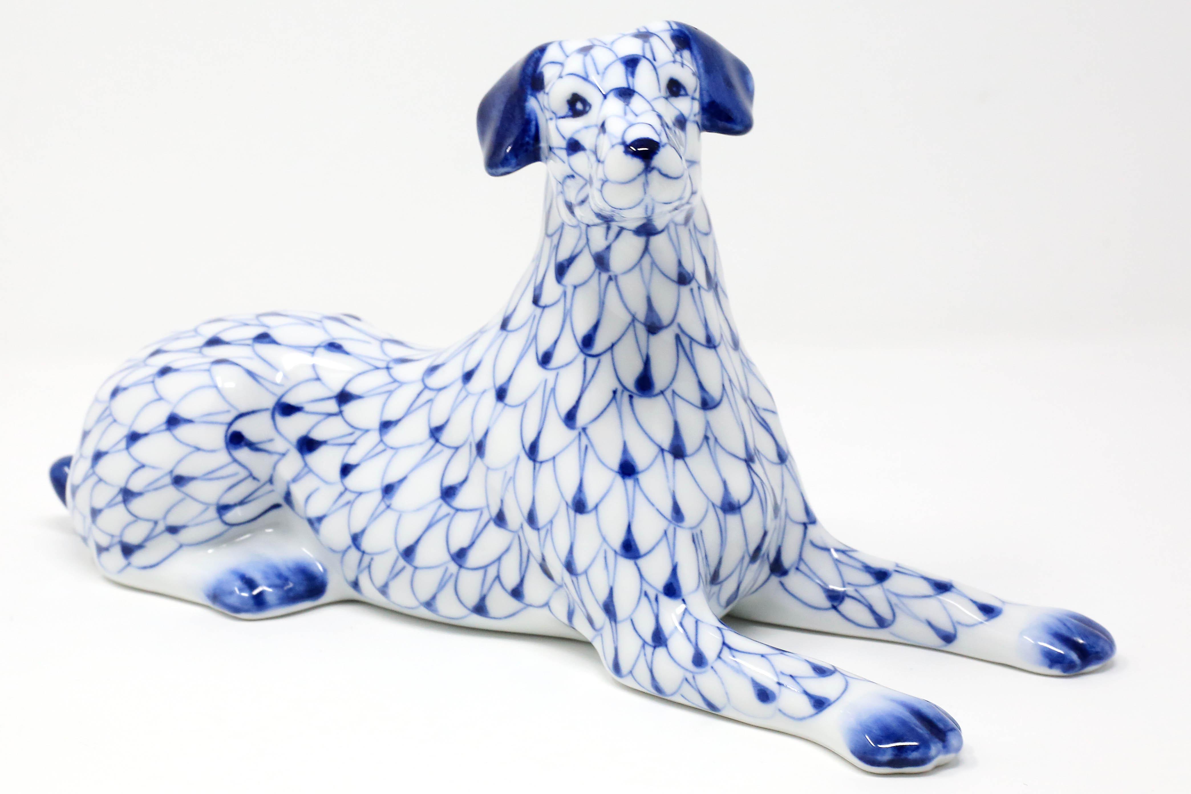 Vintage Blue and White Dog Ring Holder Figurine