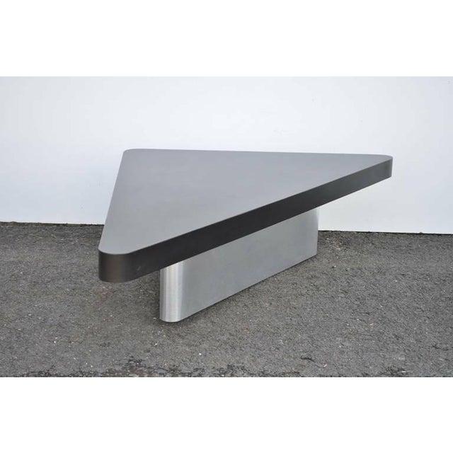 Mid Century Coffee Table Black: Mid Century Modern Triangular Steel Black Laminate Coffee