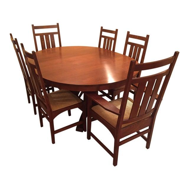 Stickley pedestal dining table harvey ellis chairs chairish stickley pedestal dining table harvey ellis chairs watchthetrailerfo