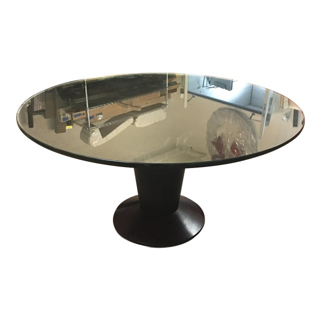 Contemporary Glass Top Pedestal Dining Table - Image 1 of 8