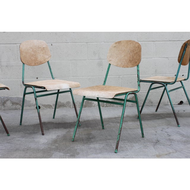 Vintage French Stacking Steel, Bentwood and Leather Schoolhouse Dining Chairs - Set of 4 For Sale - Image 5 of 11