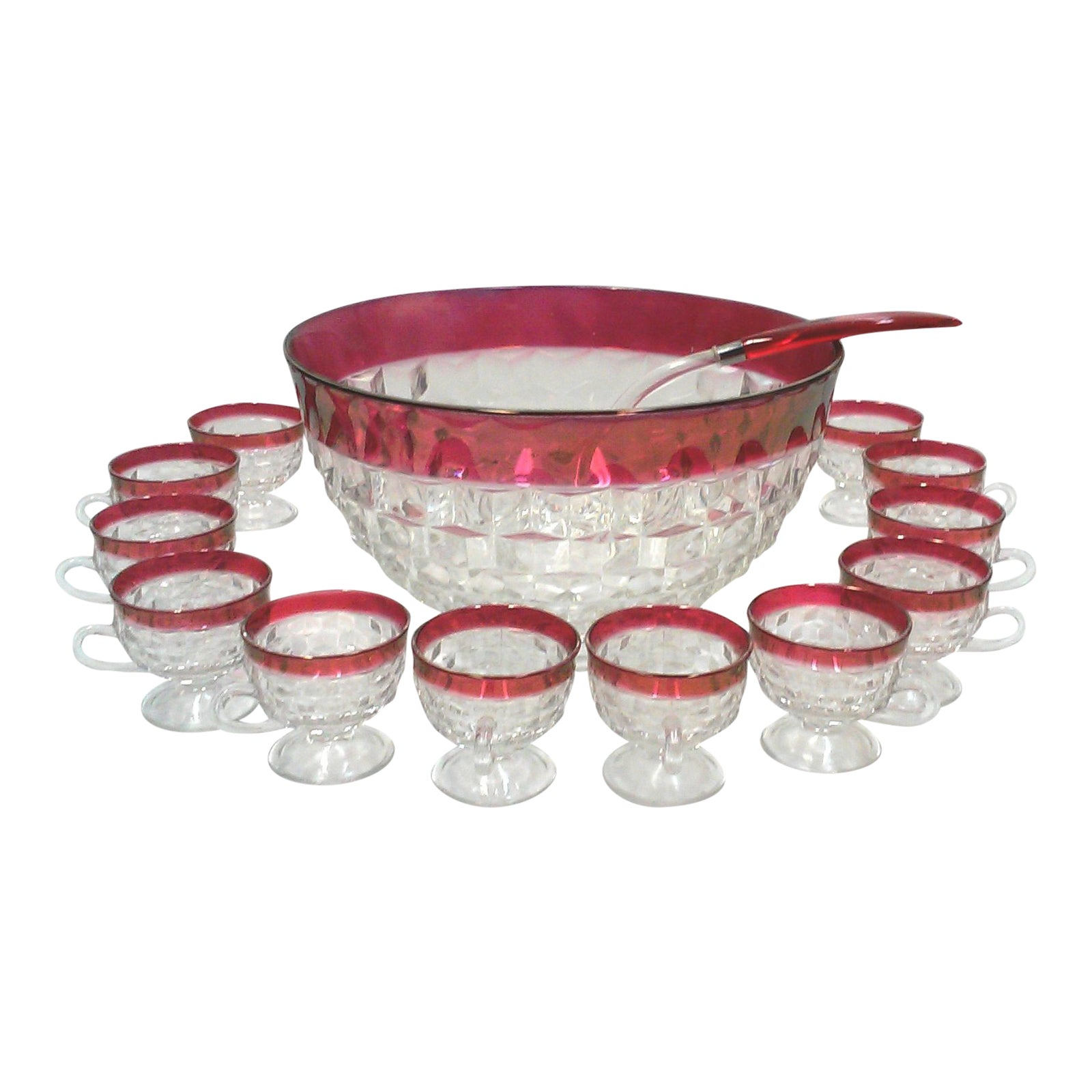 Faceted cranberry punch bowl cups ladle 14 pieces chairish